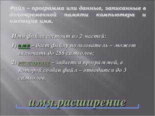 Имя файла состоит из 2х частей: 1) имя – дает файлу пользователь – может вклю