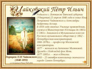 Родился в г. Воткинске Вятской губернии (Удмуртия) 25 апреля 1840 года в сем