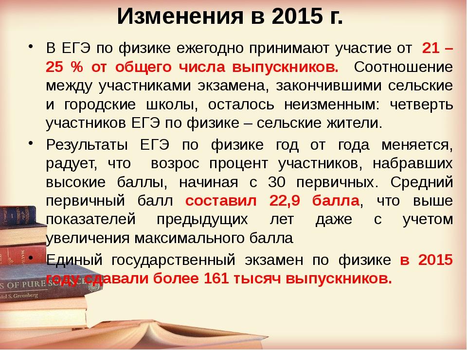 Изменения в 2015 г. В ЕГЭ по физике ежегодно принимают участие от 21 – 25 % о...