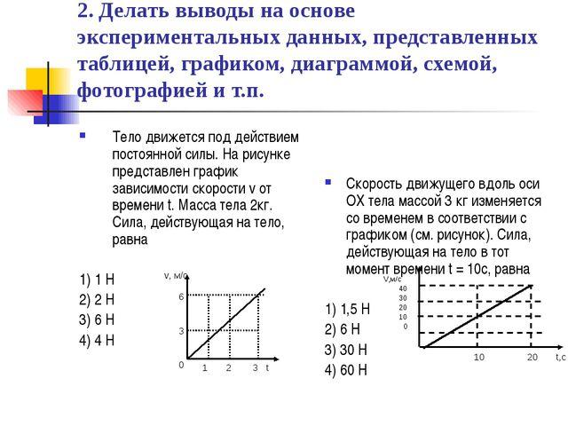 2. Делать выводы на основе экспериментальных данных, представленных таблицей,...