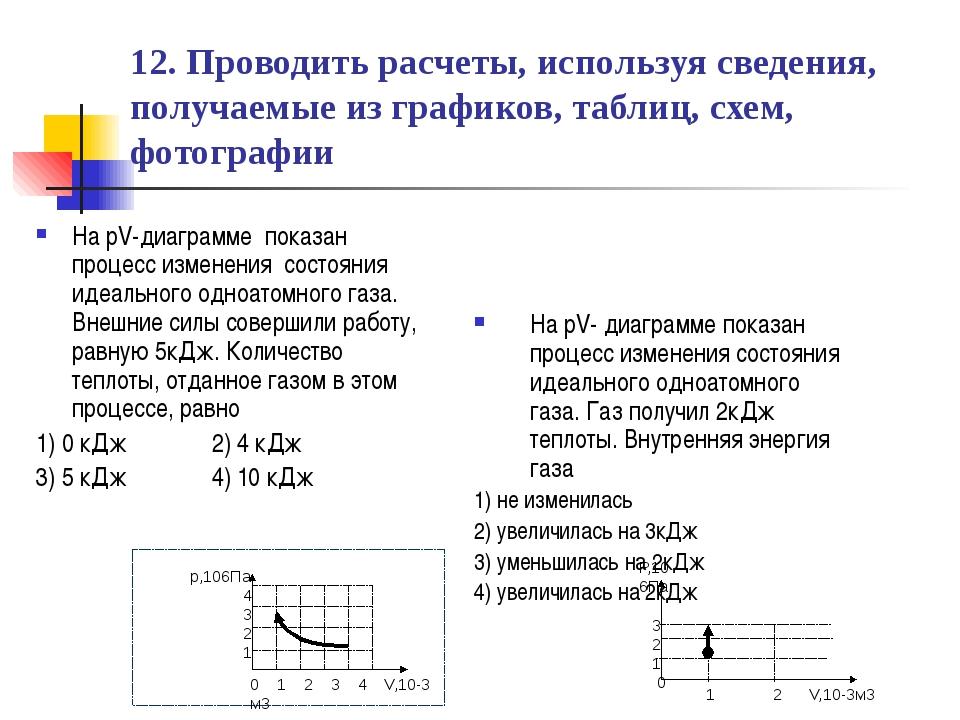 12. Проводить расчеты, используя сведения, получаемые из графиков, таблиц, сх...