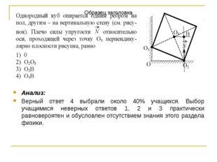 Анализ: Верный ответ 4 выбрали около 40% учащихся. Выбор учащимися неверных о