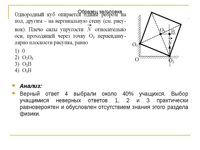 Анализ: Верный ответ 4 выбрали около 40% учащихся. Выбор учащимися неверных о...