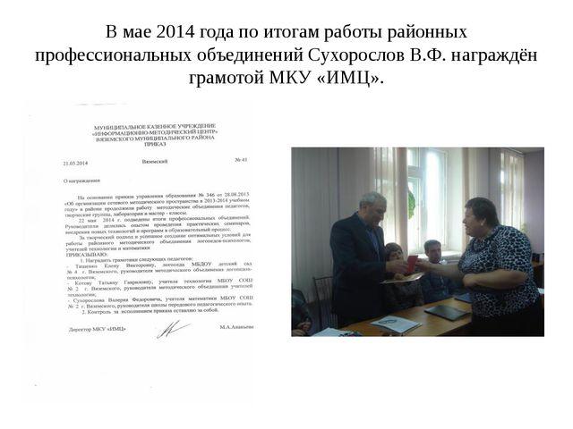 В мае 2014 года по итогам работы районных профессиональных объединений Сухоро...