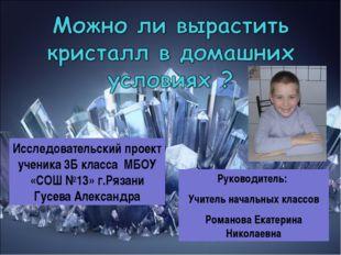 Руководитель: Учитель начальных классов Романова Екатерина Николаевна Исследо