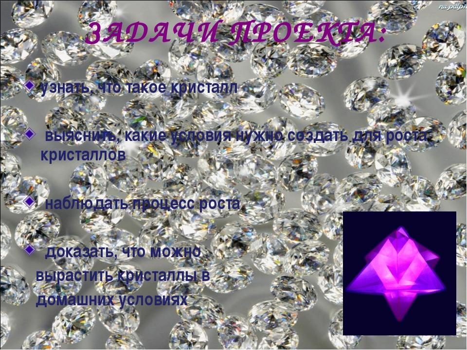 ЗАДАЧИ ПРОЕКТА: узнать, что такое кристалл выяснить, какие условия нужно созд...