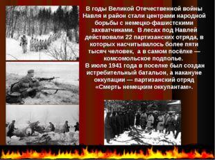 В годы Великой Отечественной войны Навля и район стали центрами народной бор