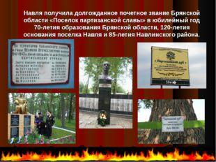 Навля получила долгожданное почетное звание Брянской области «Поселок партиза