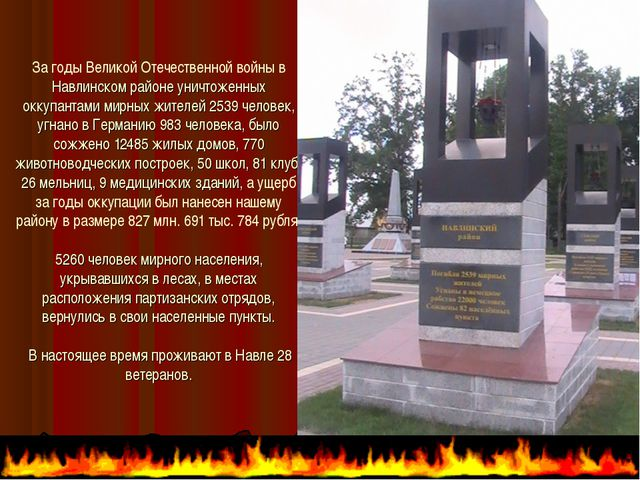 За годы Великой Отечественной войны в Навлинском районе уничтоженных оккупант...