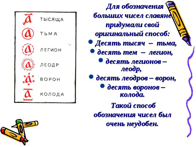 Для обозначения больших чисел славяне придумали свой оригинальный способ: Де...