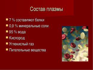Состав плазмы 7 % составляют белки 0,9 % минеральные соли 95 % вода Кислород