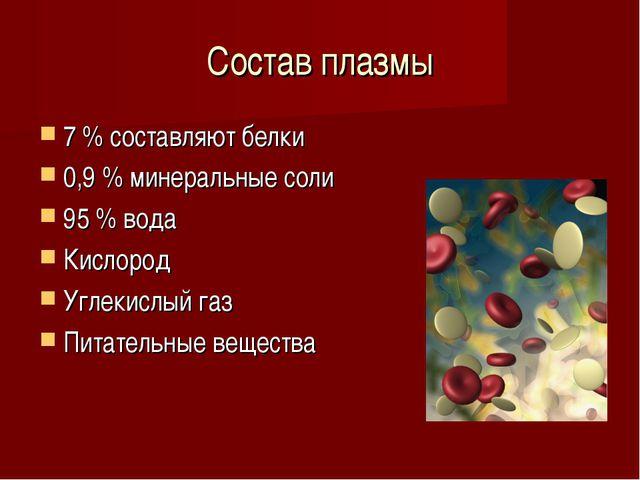 Состав плазмы 7 % составляют белки 0,9 % минеральные соли 95 % вода Кислород...