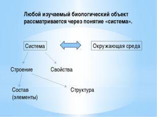 Любой изучаемый биологический объект рассматривается через понятие «система».