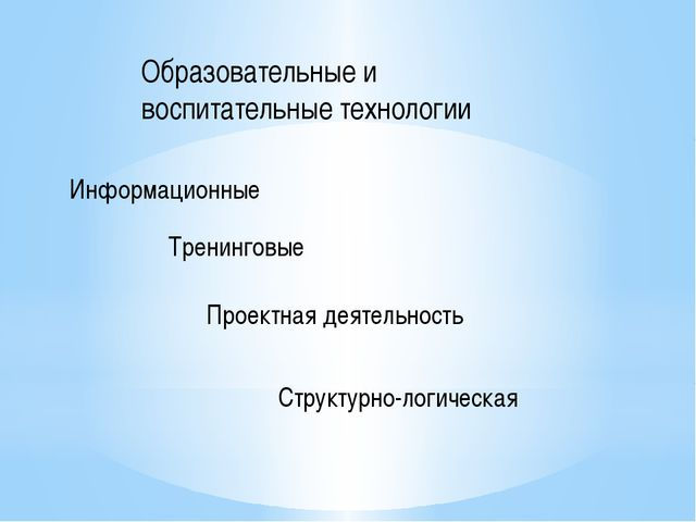 Образовательные и воспитательные технологии Информационные Тренинговые Проект...