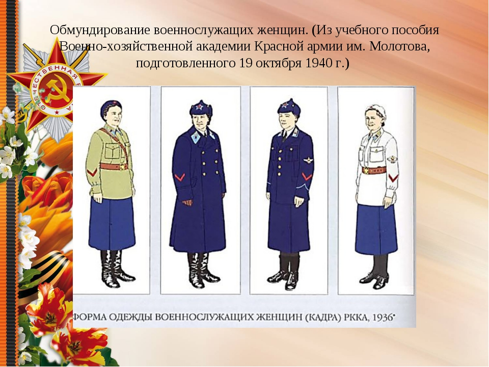 Обмундирование военнослужащих женщин. (Из учебного пособия Военно-хозяйственн...