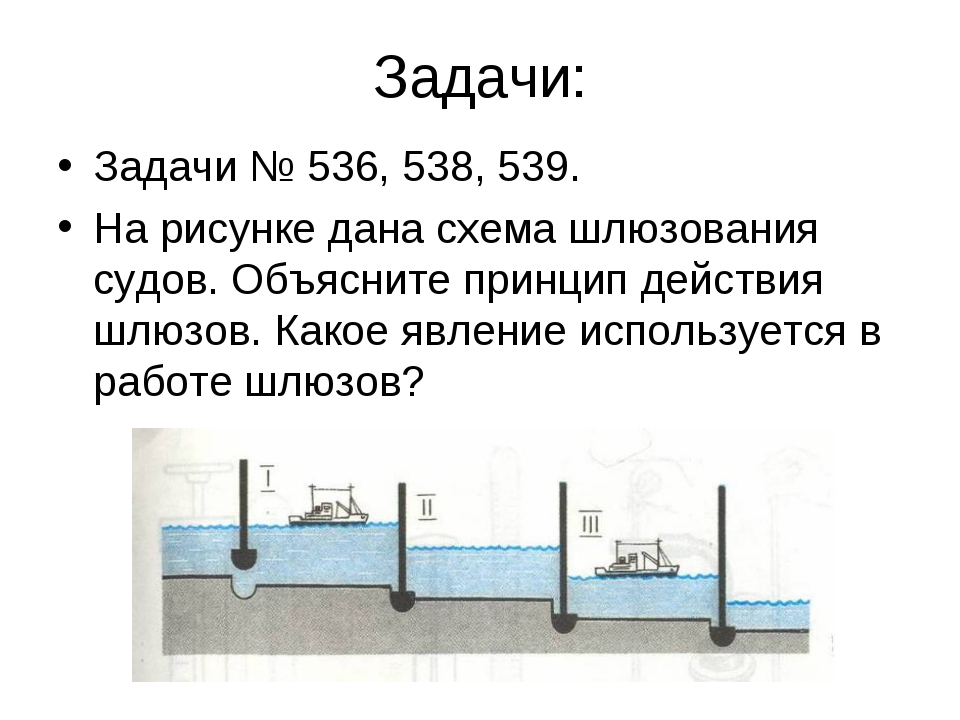 Задачи: Задачи № 536, 538, 539. На рисунке дана схема шлюзования судов. Объяс...