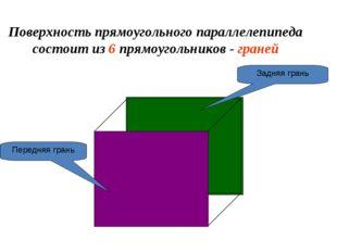 Поверхность прямоугольного параллелепипеда состоит из 6 прямоугольников - гра