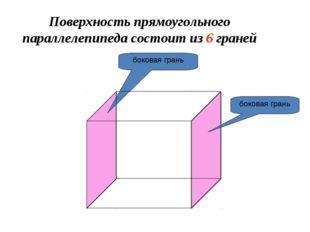Поверхность прямоугольного параллелепипеда состоит из 6 граней боковая грань