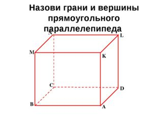 Назови грани и вершины прямоугольного параллелепипеда B M N C K L A D