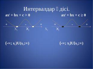 Интервалдар әдісі. aх2 + bх + с > 0 aх2 + bх + с ≥ 0 + - + + - + Х1 Х2 Х1 Х2