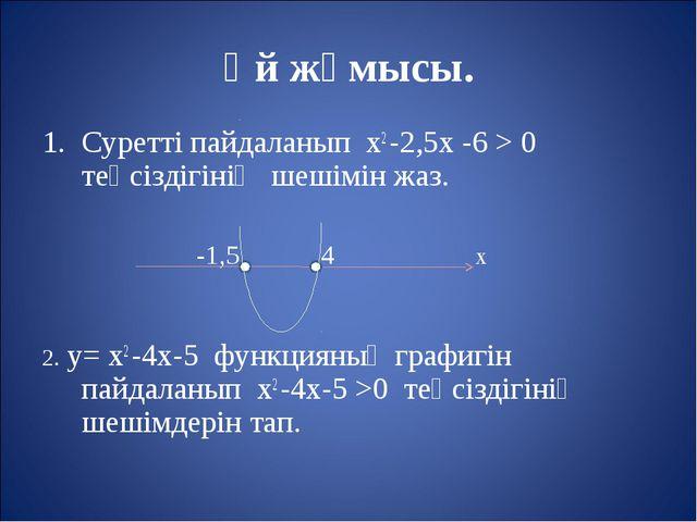 Үй жұмысы. Суретті пайдаланып х2 -2,5х -6 > 0 теңсіздігінің шешімін жаз. -1,5...