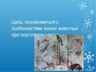Цель: познакомиться с особенностями жизни животных при подготовке к зиме.