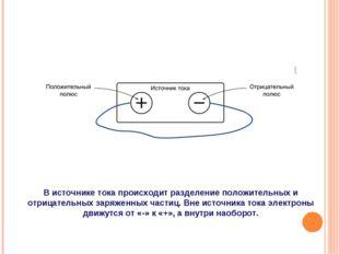 В источнике тока происходит разделение положительных и отрицательных заряженн