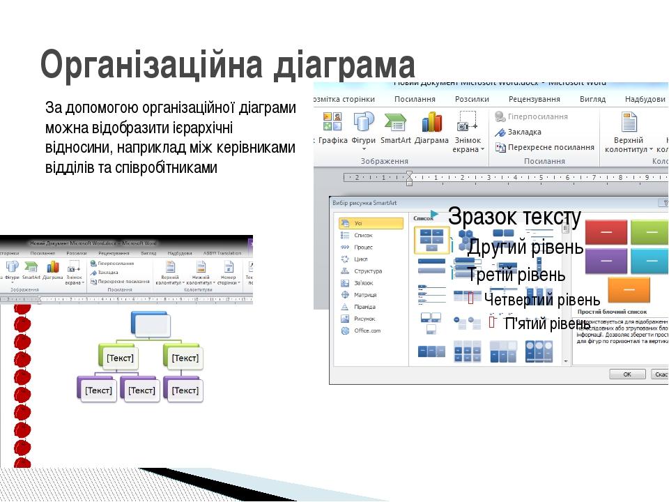 Організаційна діаграма За допомогою організаційної діаграми можна відобразити...