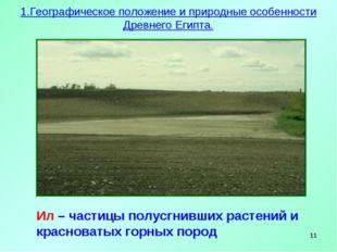 * Ил – частицы полусгнивших растений и красноватых горных пород 1.Географичес