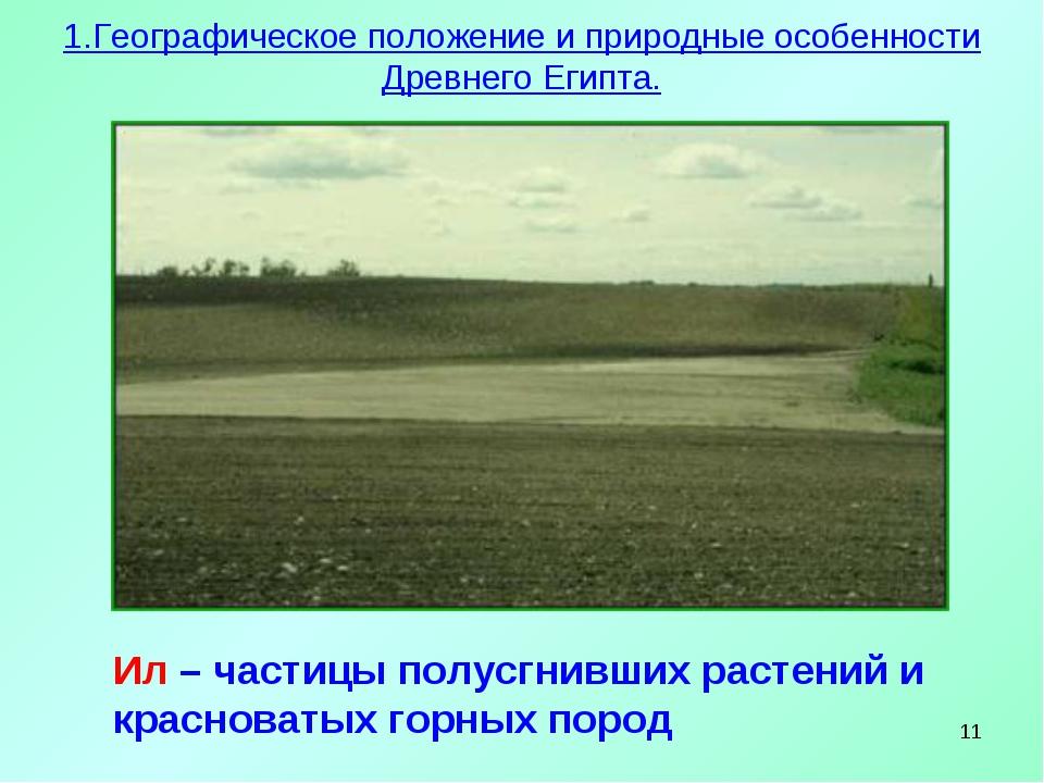 * Ил – частицы полусгнивших растений и красноватых горных пород 1.Географичес...