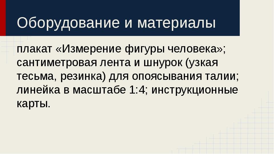 Оборудование и материалы плакат «Измерение фигуры человека»; сантиметровая ле...