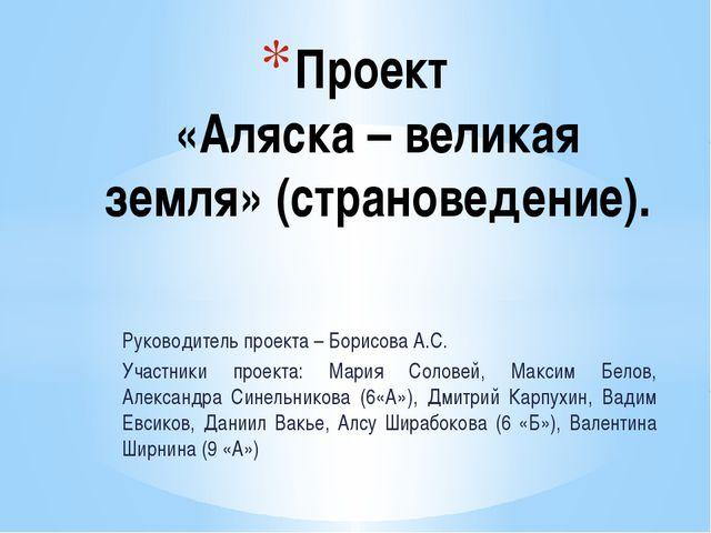 Руководитель проекта – Борисова А.С. Участники проекта: Мария Соловей, Максим...