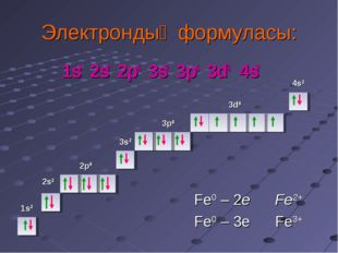 Электрондық формуласы: 1s2 2s2 2p6 3s2 3p6 3d6 4s2 1s2 2s2 2p6 3s2 3p6 3d6 4s