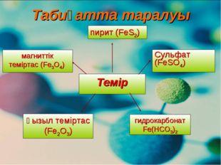 Темір магниттік теміртас (Fe3O4) қызыл теміртас (Fe2O3) Сульфат (FeSO4) пирит
