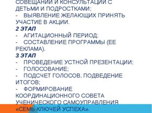 ЭТАПЫ И СРОКИ ПРОВЕДЕНИЯ АКЦИИ: 1 ЭТАП - СОЗДАНИЕ ОРГКОМИТЕТА АКЦИИ; - ПРОВЕД