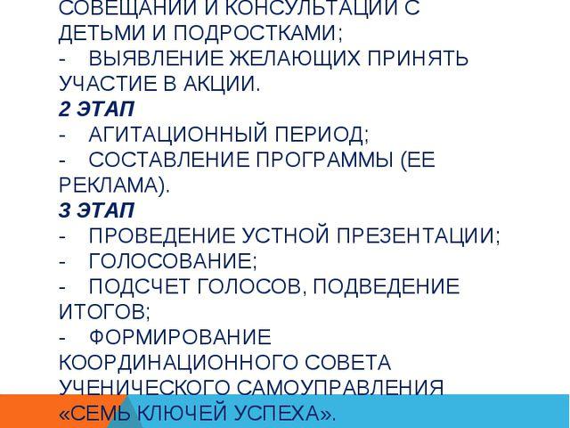 ЭТАПЫ И СРОКИ ПРОВЕДЕНИЯ АКЦИИ: 1 ЭТАП - СОЗДАНИЕ ОРГКОМИТЕТА АКЦИИ; - ПРОВЕД...
