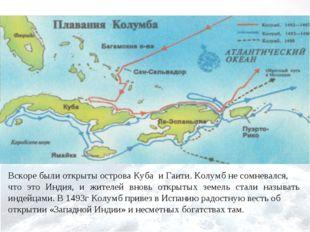 Вскоре были открыты острова Куба и Гаити. Колумб не сомневался, что это Инди
