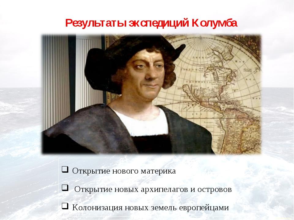 Результаты экспедиций Колумба Открытие нового материка Открытие новых архипел...