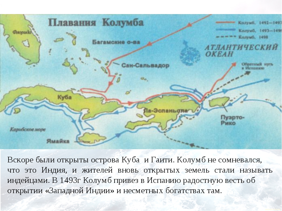 Вскоре были открыты острова Куба и Гаити. Колумб не сомневался, что это Инди...