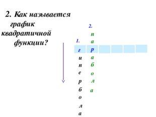 1. 2. р г и е п а л о б р 2. Как называется график квадратичной функции? п а