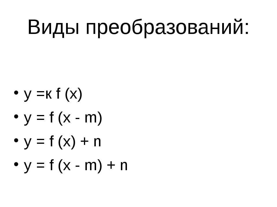 Виды преобразований: y =к f (x) y = f (x - m) y = f (x) + n y = f (x - m) + n