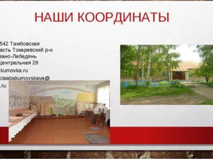 НАШИ КООРДИНАТЫ 393542 Тамбовская область Токаревский р-н с.Ивано-Лебедянь ул