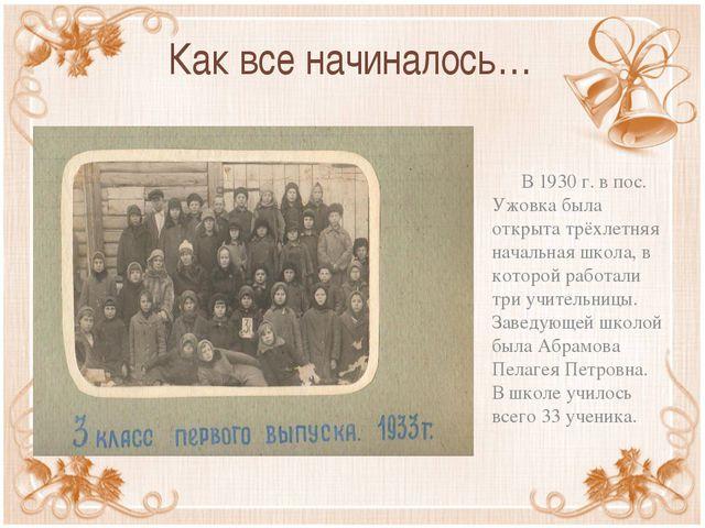 Как все начиналось… В 1930 г. в пос. Ужовка была открыта трёхлетняя начальная...