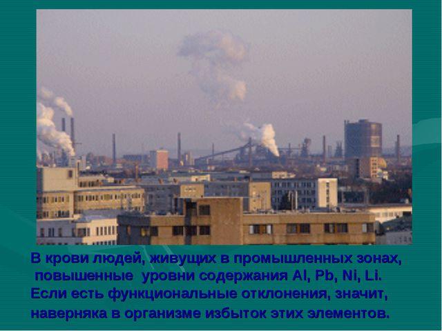 В крови людей, живущих в промышленных зонах, повышенные уровни содержания Al,...