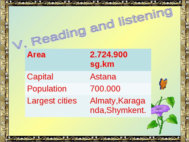 Area	2.724.900 sg.km Capital	Astana Population	700.000 Largest cities	Almaty,...