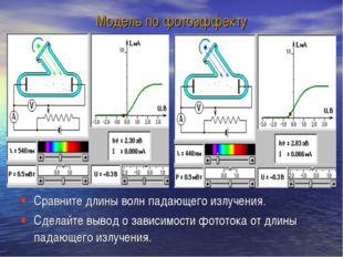 Модель по фотоэффекту Сравните длины волн падающего излучения. Сделайте вывод