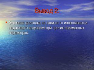 Вывод 2: Значение фототока не зависит от интенсивности падающего излучения пр