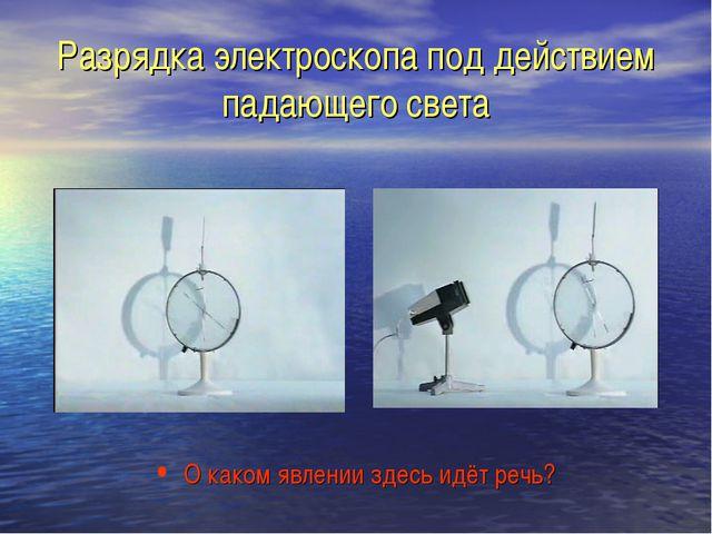 Разрядка электроскопа под действием падающего света О каком явлении здесь идё...