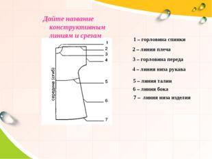 Дайте название конструктивным линиям и срезам 1 – горловина спинки 2 – линия