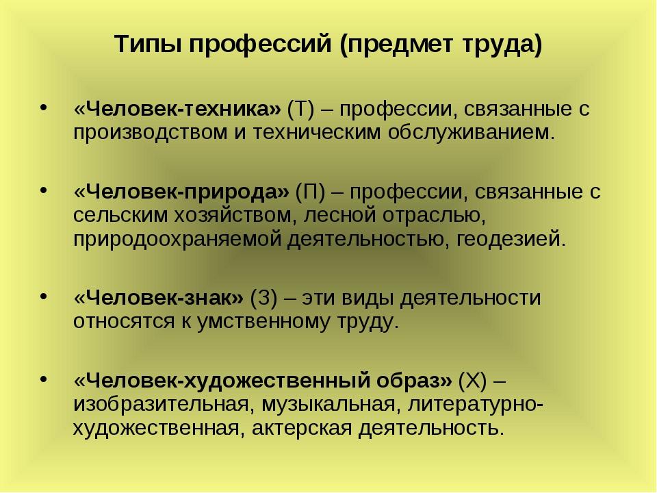 Типы профессий (предмет труда) «Человек-техника» (Т) – профессии, связанные с...
